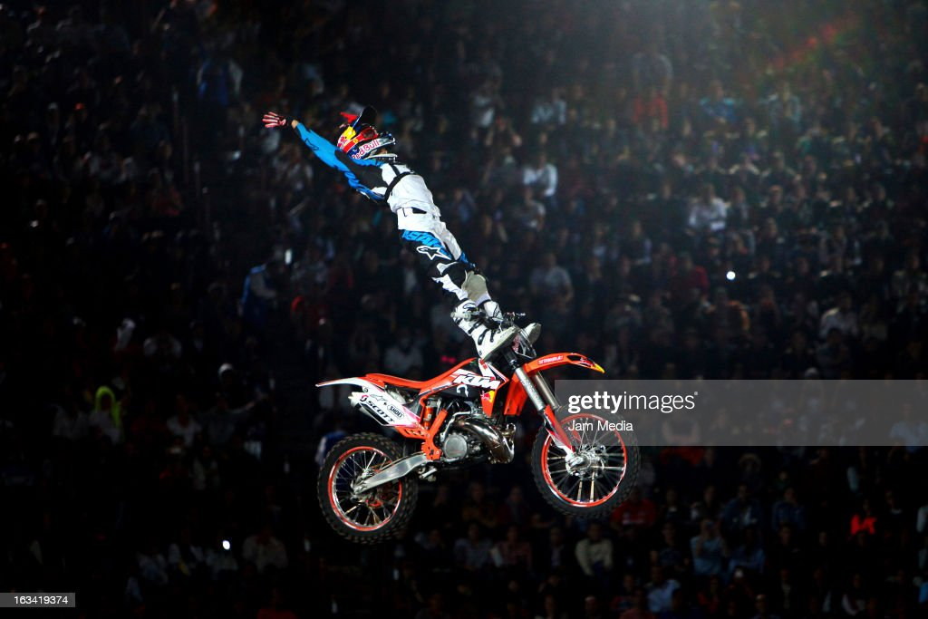 Erick Ruiz in action during the Red Bull X-Fighters in Plaza Mexico on march 08, 2013 in Mexico City, Mexico.