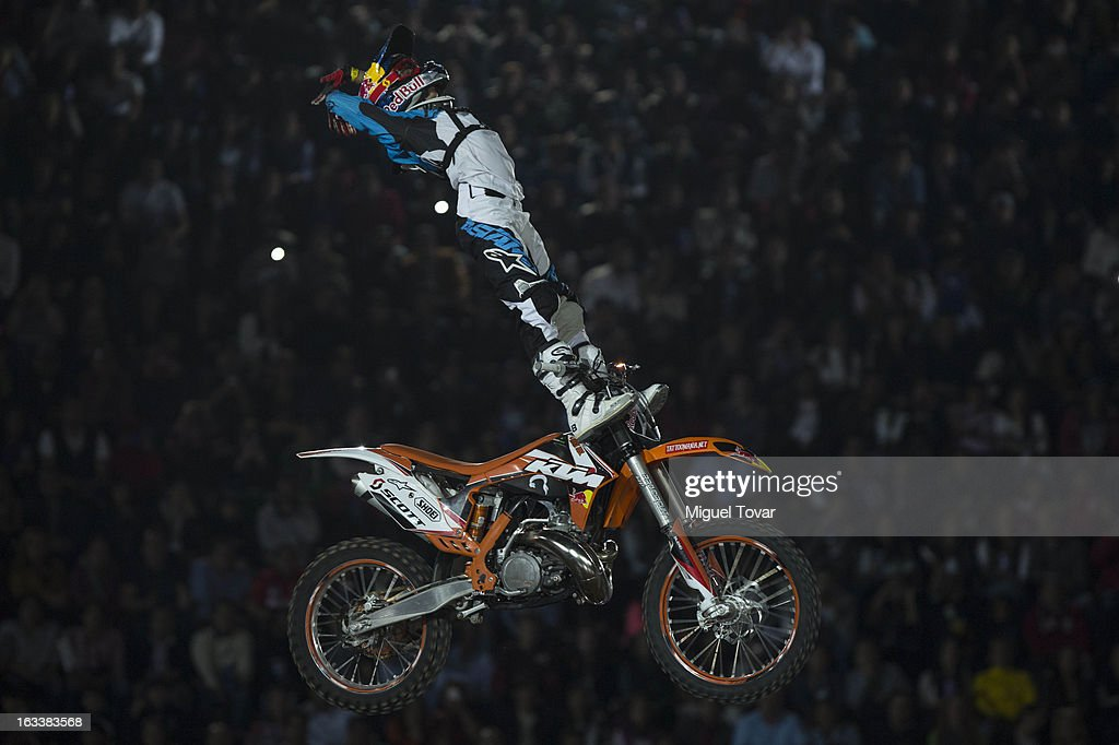 Erick Ruiz of Mexico competes in the Red Bull X-Fighters Moto Cross at plaza de toros Mexico on March 08, 2013 in Mexico City, Mexico.