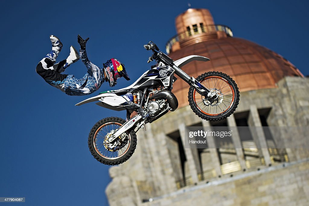 Erick Ruiz of Mexico warms up for the the Red Bull XFighters World Tour season opener at the Monumento a la Revolucion on March 11 2014 in Mexico...