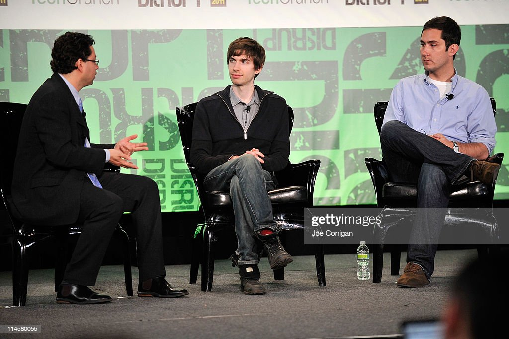 Erick Schonfeld, David Karp of Tumblr, and Kevin Systrom of Instagram during TechCrunch Disrupt New York May 2011 at Pier 94 on May 24, 2011 in New York City.