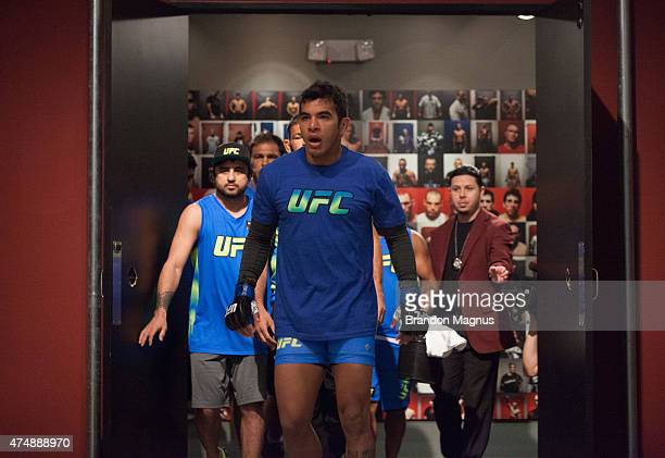 Erick Silva prepares to enter the Octagon before facing Neto BJJ during the filming of The Ultimate Fighter Brazil Team Nogueira vs Team Rua on...