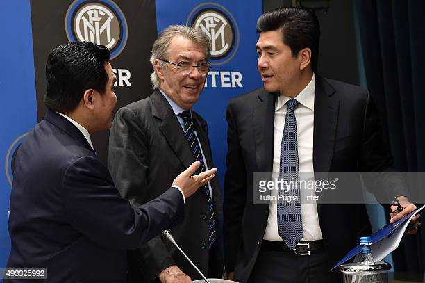 Erick Thohir Massimo Moratti and Handy Soetedjo look on during a press conference after the FC Internazionale shareholder's meeting at Hotel Gallia...