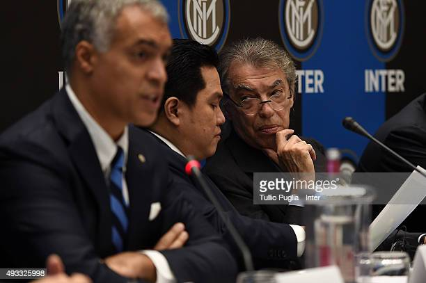 Erick Thohir President of Inter and Massimo Moratti Honorary President of Inter look on during a press conference after the FC Internazionale...