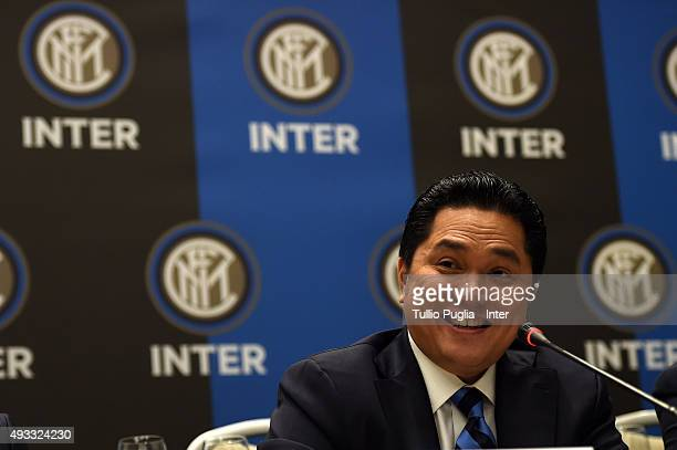 Erick Thohir President of Inter answers questions during a press conference after the FC Internazionale shareholder's meeting at Hotel Gallia on...