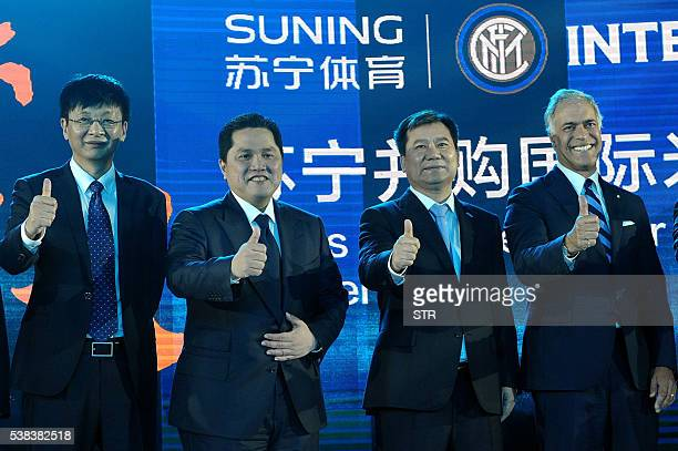 Erick Thohir President of Inter Milan and Zhang Jindong chairman of the Suning Holdings Group attend a press conference for Suning's Acquisition of...