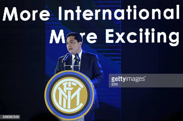 Erick Thohir President of Inter Milan delivers a speech during a press conference for Suning's Acquisition of Inter Milan in Nanjing east China's...