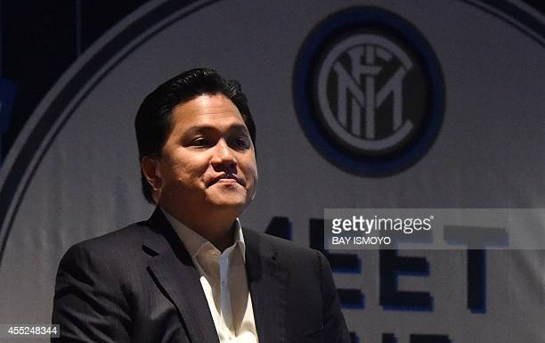 Erick Thohir president of Internazionale FC speaks during the launching of a digital product for football club Inter Milan in Jakarta on September 11...
