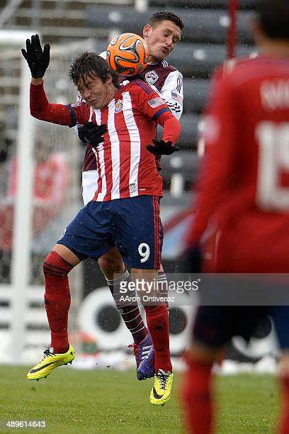 Erick Torres of Chivas USA and Shane O'Neill of Colorado Rapids head the ball during the second half Chivas USA defeated the Colorado Rapids 31 on...