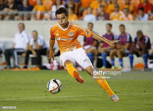 Erick Torres of Houston Dynamo works the ball in the second half against the San Jose Earthquakes during their game at BBVA Compass Stadium on August...