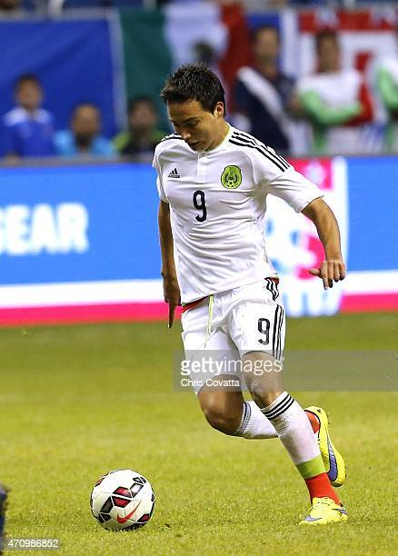 Erick Torres of Mexico advances the ball against the United States during an international friendly match at the Alamodome on April 15 2015 in San...