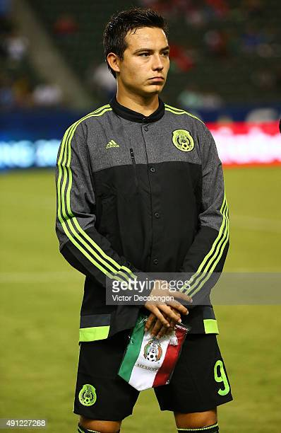 Erick Torres of Mexico looks on during the singing of the national anthems prior to the 2015 CONCACAF Olympic Qualifying Group B match against the...