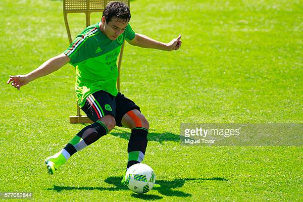 Erick Torres of Mexico prepares to kick the ball during a training session ahead of the friendly match between Mexico and Argentina at CAR on July 18...