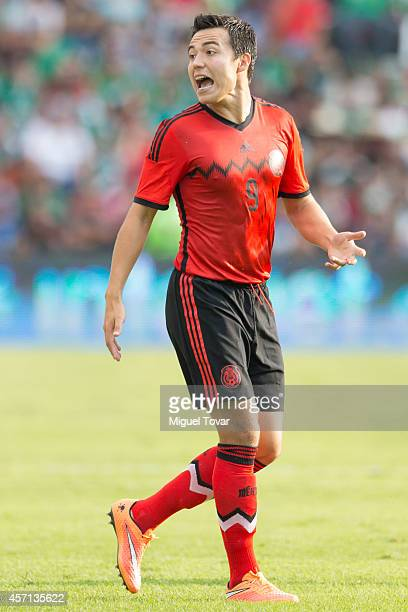 Erick Torres of Mexico reacts the ball during a friendly match between Mexico and Panama at Corregidora Stadium on October 12 2014 in Queretaro Mexico