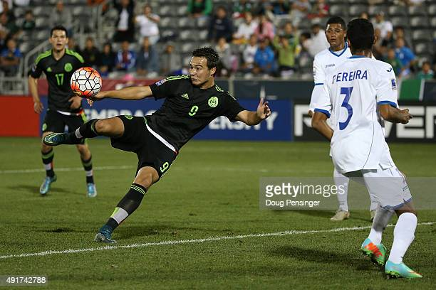 Erick Torres of Mexico takes a shot on goal against Honduras during 2015 CONCACAF Olympic Qualifying at Dick's Sporting Goods Park on October 7 2015...