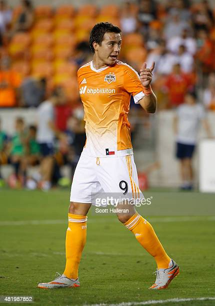 Erick Torres of the Houston Dynamo walks across the field during their game against the Los Angeles Galaxy at BBVA Compass Stadium on July 25 2015 in...