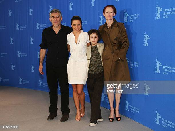 Erick Zonca director Kate del Castillo Aidan Gould and Tilda Swinton attend the 'Julia' photocall during day three of the 58th Berlinale...