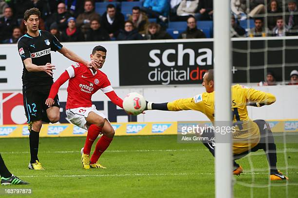 EricMaxim ChoupoMoting of Mainz tries to score against David Abraham and goalkeeper Heurelho Gomes of Hoffenheim during the Bundesliga match between...