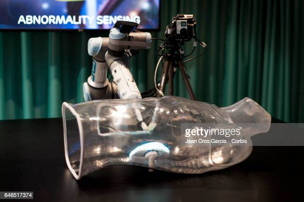Ericsson display their robot technology for surgical operations during the Mobile World Congress on February 28 2017 in Barcelona Spain