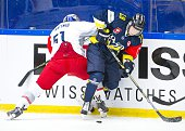 Erik Andersson of HV71 during the Champions Hockey League group stage game between HV71 Jonkoping and Red Bull Salzburg on August 22 2015 in...