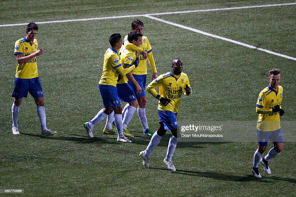 Erik Bakker of Cambuur celebrates with team mates after he takes and scores a penalty during the Dutch Eredivisie match between SC Cambuur and PEC...