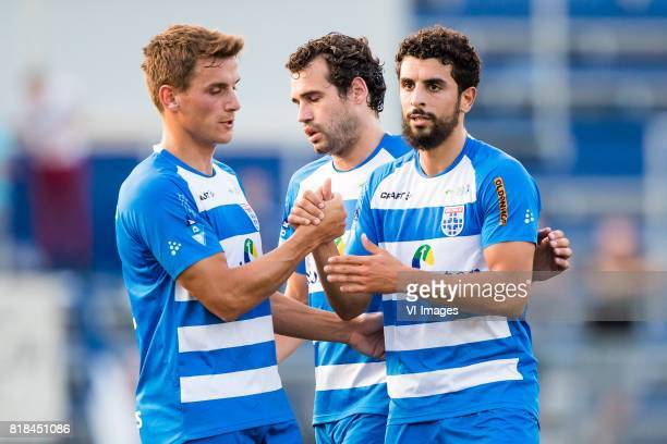 Erik Bakker of PEC Zwolle Dirk Marcellis of PEC Zwolle Youness Mokhtar of PEC Zwolle during the friendly match between PEC Zwolle and Almere City at...