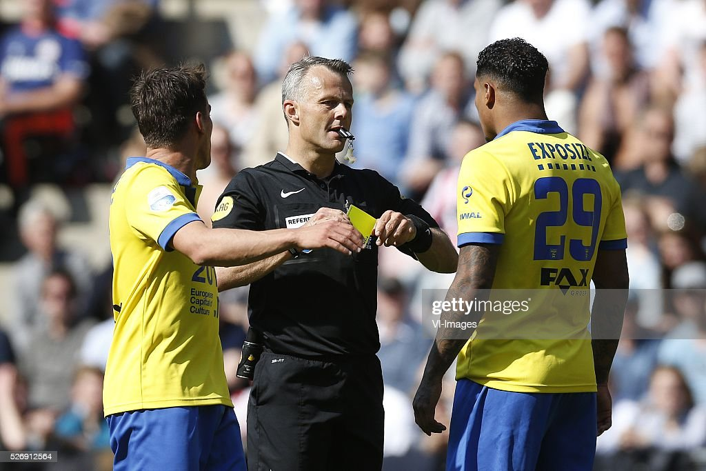 , Erik Bakker of SC Cambuur, Referee Bjorn Kuipers, Darryl Lachman of SC Cambuur during the Dutch Eredivisie match between PSV Eindhoven and SC Cambuur Leeuwarden at the Phillips stadium on May 01, 2016 in Eindhoven, The Netherlands