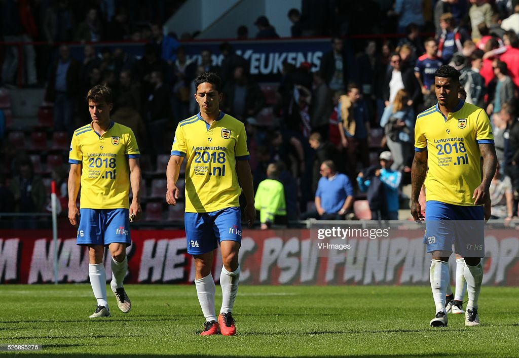 Erik Bakker of SC Cambuur, Tom Hiariej of SC Cambuur, Darryl Lachman of SC Cambuur during the Dutch Eredivisie match between PSV Eindhoven and SC Cambuur Leeuwarden at the Phillips stadium on May 01, 2016 in Eindhoven, The Netherlands