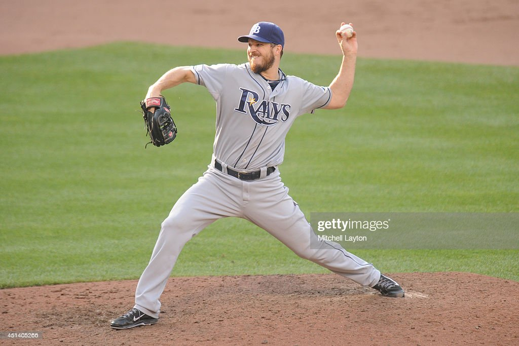 Erik Bedard #40 of the Tampa Bay Rays pitches in the eighth inning during a baseball game against the Baltimore Orioles on June 28, 2014 at Oriole Park at Camden Yards in Baltimore, Maryland. The Rays won 5-4.