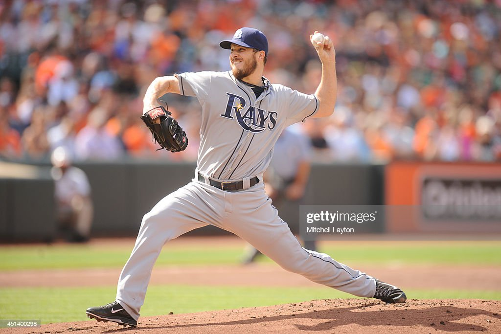 Erik Bedard #40 of the Tampa Bay Rays pitches in the first inning during a baseball game against the Baltimore Orioles on June 28, 2014 at Oriole Park at Camden Yards in Baltimore, Maryland.