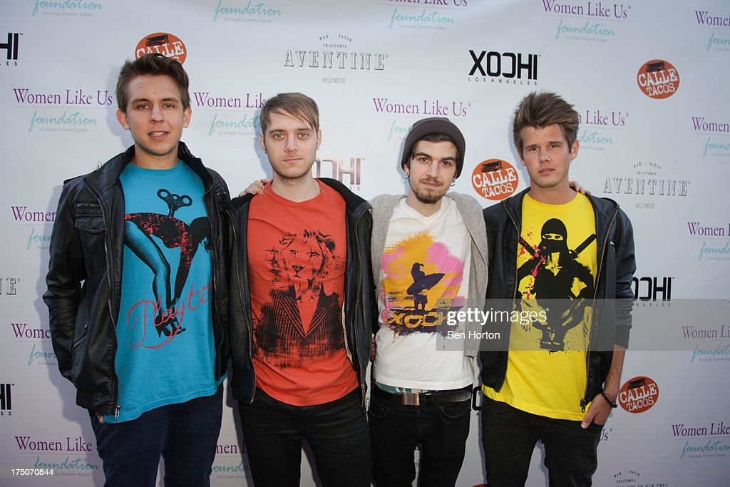Erik Bergamini, Kris Piersson, Bali Harko and Robin Hedlund of the band Second Nature attend the Women Like Us Foundation's One Girl at a Time Fundraiser at the Aventine Hollywood on July 30, 2013 in Hollywood, California.