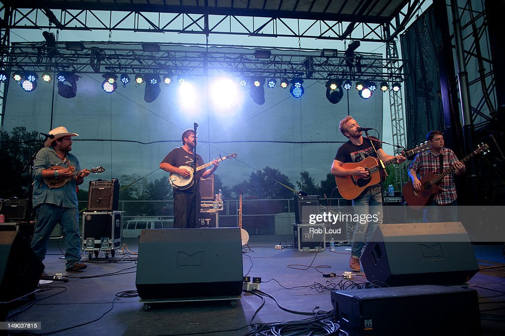 Erik Berry, Ryan Young, Dave Carroll, Dave Simonett and Tim Saxhaug of Trambled by Turtles perform during the 2012 Firefly Music Festival at The Woodlands on July 21, 2012 in Dover, Delaware.
