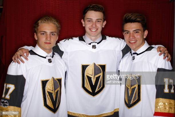 Erik Brannstrom 15th overall pick Cody Glass sixth overall pick and Nick Suzuki 13th overall pick of the Vegas Golden Knights pose for a portrait...