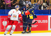 Erik Christensen of HV71 celebrates the goal 21 during the Champions Hockey League group stage game between HV71 Jonkoping and Red Bull Salzburg on...