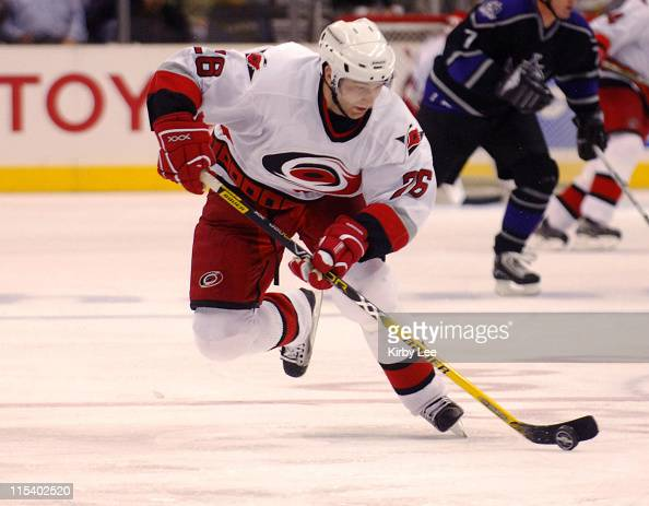 Erik Cole of the Carolina Hurricanes during 32 victory over the Los Angeles Kings at the Staples Center in Los Angeles California on Thursday...