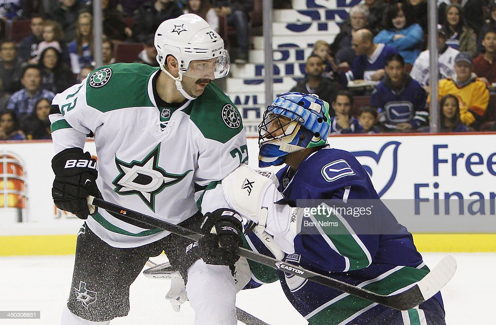 Erik Cole #72 of the Dallas Stars skates against goaltender Robert Luongo #1 of the Vancouver Canucks during the first period of their NHL game at Rogers Arena on November 17, 2013 in Vancouver, British Columbia, Canada.