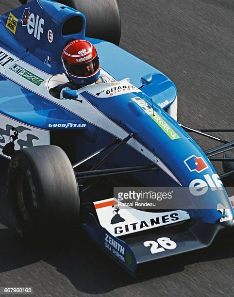 Erik Comas of France drives the Ligier Gitanes Blondes Ligier JS37 Renault V10 during practice for the Italian Grand Prix on 12 September 1992 at the...