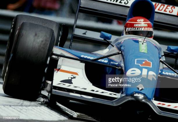 Erik Comas of France drives the Ligier Gitanes Blondes Ligier JS37 Renault V10 during practice for the Grand Prix of Monaco on 30 May 1992 on the...