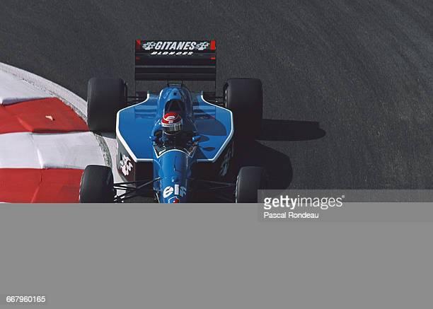 Erik Comas of France drives the Ligier Gitanes Ligier JS35 Lamborghini V12 during practice for the RhonePoulenc French Grand Prix on 6 July 1991 at...