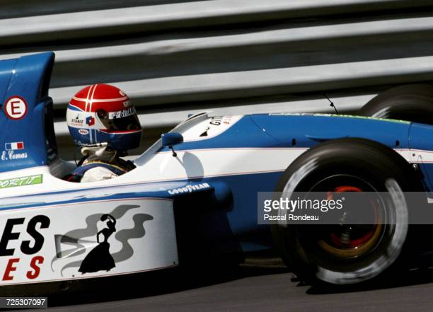 Erik Comas of France lights up the disc brakes driving the Ligier Gitanes Blondes Ligier JS37 Renault V10 during the Canadian Grand Prix on 14 June...