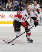 Erik Condra of Ottawa Senators skates during NHL game action against the Toronto Maple Leafs February 1 2014 at the Air Canada Centre in Toronto...