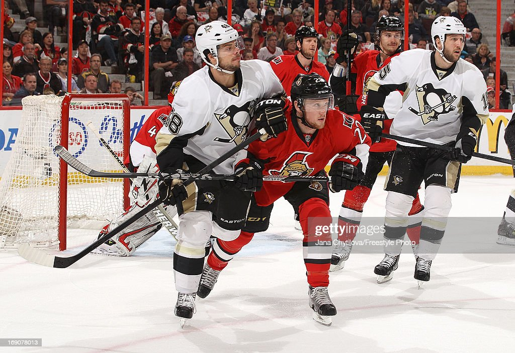 Erik Condra #22 of the Ottawa Senators battles for position against Tyler Kennedy #48 of the Pittsburgh Penguins in Game Three of the Eastern Conference Semifinals during the 2013 NHL Stanley Cup Playoffs, at Scotiabank Place, on May 19, 2013 in Ottawa, Ontario, Canada.
