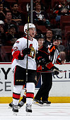Erik Condra of the Ottawa Senators celebrates his first period goal against the Anaheim Ducks on February 25 2015 at Honda Center in Anaheim...
