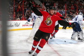 Erik Condra of the Ottawa Senators celebrates his third period goal against the Toronto Maple Leafs at Canadian Tire Centre on December 7 2013 in...
