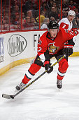 Erik Condra of the Ottawa Senators controls the puck against the Detroit Red Wings at Canadian Tire Centre on December 27 2014 in Ottawa Ontario...