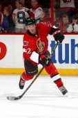 Erik Condra of the Ottawa Senators shoots the puck during warmup prior to their game against the Calgary Flames at Canadian Tire Centre on March 30...