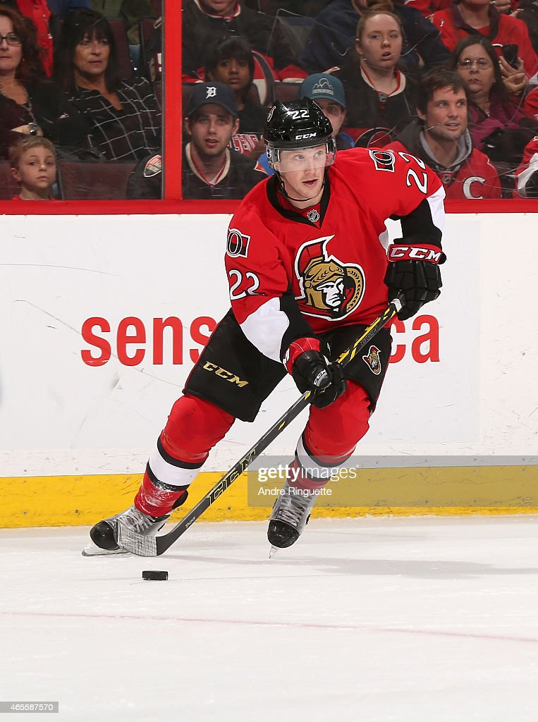 Erik Condra of the Ottawa Senators skates against the Buffalo Sabres at Canadian Tire Centre on March 6 2015 in Ottawa Ontario Canada