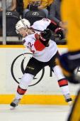 Erik Condra of the Ottawa Senators skates against the Nashville Predators at Bridgestone Arena on January 11 2014 in Nashville Tennessee