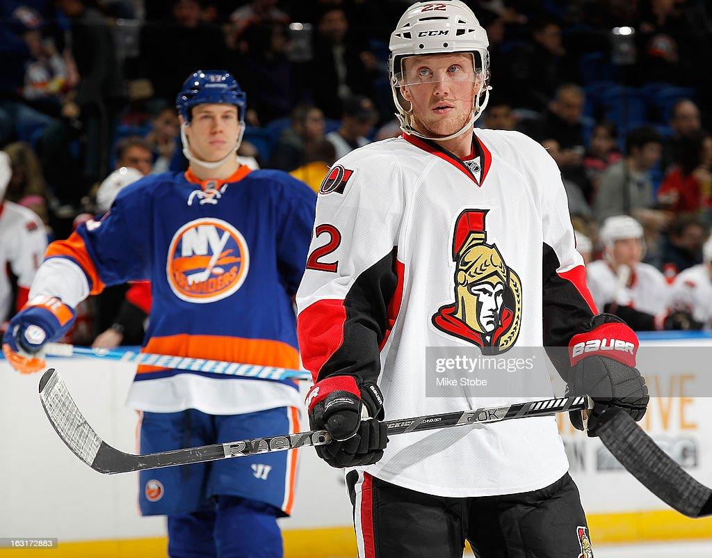 Erik Condra #22 of the Ottawa Senators skates against the New York Islanders at Nassau Veterans Memorial Coliseum on March 3, 2013 in Uniondale, New York. The Islanders defeated the Senators 3-2 in a shootout.