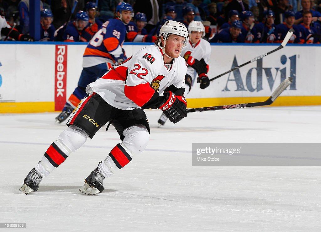 Erik Condra #22 of the Ottawa Senators skates against the New York Islanders at Nassau Veterans Memorial Coliseum on March 19, 2013 in Uniondale, New York. The Senators defeated the Islanders 5-3.