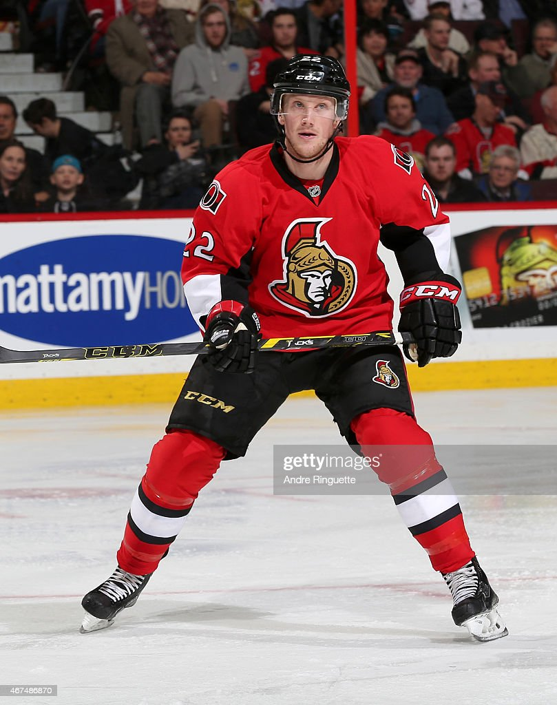 Erik Condra of the Ottawa Senators skates against the San Jose Sharks at Canadian Tire Centre on March 23 2015 in Ottawa Ontario Canada